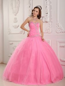 Sweet Tulle Quinceanera Gown Dress Beading Sweetheart in Rose Pink