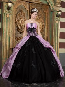 Exquisite Strapless Lilac and Black Quinceanera Gown Dresses Taffeta