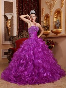 Purple Floor-length Beaded Quinceanera Dresses with Ruffled Layers