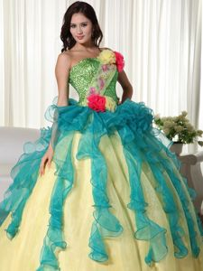 Colorful Organza Quinceanera Gown Dresses Strapless Zipper up Back