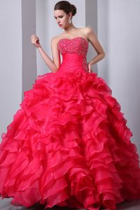 Beaded Bodice Dress for Quince Floor-length with Multi-tiered Layers