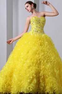 Yellow Sweet Sixteen Dresses Beading with Ruffled Layers in Fashion