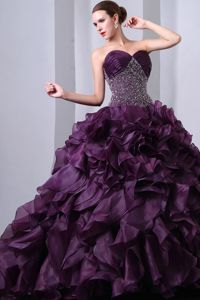 Dark Purple Beaded Sweetheart Dress for Quince Ruche Ruffled Layers