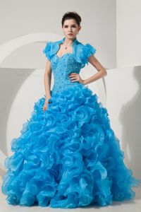 Fashionable Blue Beading Quinceanera Gown Dresses Organza Ruffles