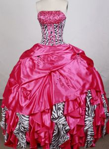 Beaded Zebra and Pink Strapless Quinceanera Gowns Beaded 2021