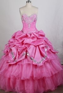 Discount Pink Beaded Pick-ups Ruffled Quinceanera Dresses