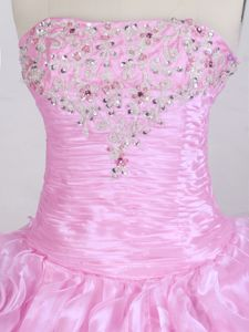 Organza Strapless Rose Pink Quinceanera Gown with Ruffles