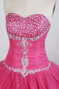 Hot pink Sweetheart Ruching Sweet 15 Dresses Beaded on Sale