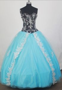 Appliques Baby Blue and Black Beaded Sweet 15 Dress for Quince