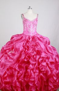 Embroidery Ruffled Beading Straps Quinceanera Dress with Train