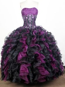 Appliques Purple and Black Ruched Sweet 16 Quinceanera Dresses