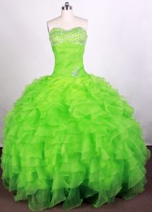 Layers Ruffled Beaded Ruching Spring Green Quinceanera Dresses