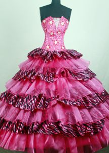 Zebra and Hot Pink Qunceanera Dress with Star Embellishment
