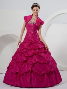 Trendy Fushia Beaded Bodice Dress for Quince Pick-ups Lace up Back