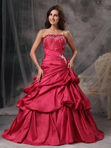 Sophisticated Beaded and Ruched Bodice Sweet Sixteen Dress Taffeta