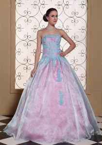 Unique Organza Quinceanera Gown Dress with Appliques Floor-length