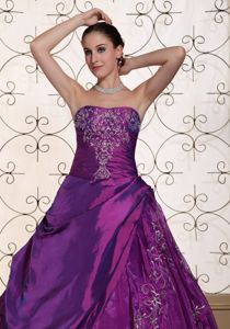 New Purple Taffeta and Organza Dresses for Quinceaneras Embroidery