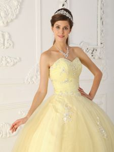Light Yellow Ball Gown Appliques Sweetheart Floor-length dress for 15