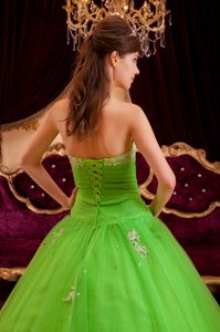 Exquisite Spring Green Appliques and Beaded Dress for Quince Tulle