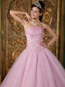 Tulle Strapless Sweet Sixteen Dresses Ruches and Appliques in Fashion