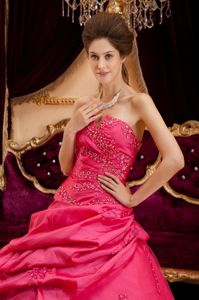 Coral Red Ball Gown Ruffled Quinceanera Gowns Appliques Strapless