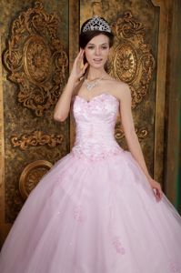 Baby Pink Ball Gown Tulle Dress for fifteen Appliques Sweetheart 2021