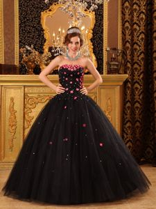 Attractive Sweetheart Black Quinceanera Dresses Tulle with Appliques