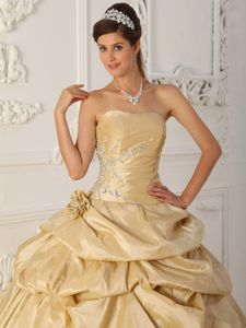 Champagne Taffeta Quinceanera Gown Dresses Strapless with Beading