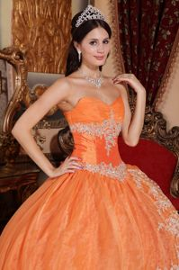 Fashionable Organza Lace Decorated Quinceanera Dresses Sweetheart