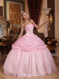 Baby Pink Strapless Dresses for Quinceaneras Appliques Floor-length