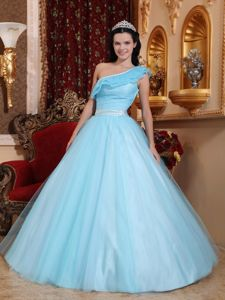 Simple Light Blue Single Shoulder Quinceanera Gowns Tulle with Sash