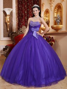 Sweet Purple Dress for Quince Beaded Sweetheart with Bow in