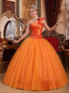 Trendy Lace-up Ruched Sweet Sixteen Dresses One Shoulder with Bow