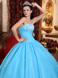 Best Aqua Blue Sweet 16 Dress Beading Appliques with Lace up Back