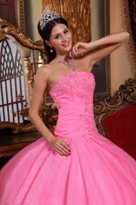 Strapless Sweet Sixteen Dresses Rose Pink Appliques Beading in Tulle