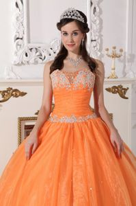 Pretty Lace-up Orange Ruched Quinceanera Gowns Beaded Appliques