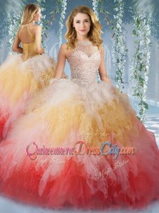 Designer Multi-color Lace Up Halter Top Beading and Ruffles Quinceanera Dress Tulle Sleeveless