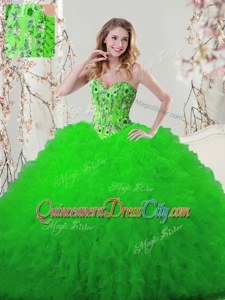 Beauteous Floor Length Ball Gowns Sleeveless Spring Green Quinceanera Dresses Lace Up