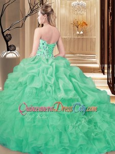 Elegant Organza Sweetheart Sleeveless Lace Up Beading and Ruffles Quince Ball Gowns inBaby Blue