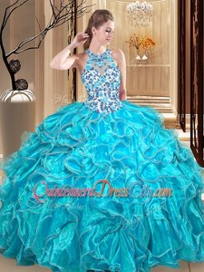 Flare Turquoise Ball Gowns Embroidery and Ruffles Sweet 16 Dress Backless Organza Sleeveless Floor Length