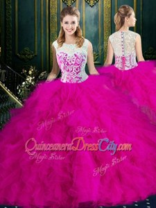 Inexpensive Red Sleeveless Tulle Lace Up Quinceanera Dress forMilitary Ball and Sweet 16 and Quinceanera