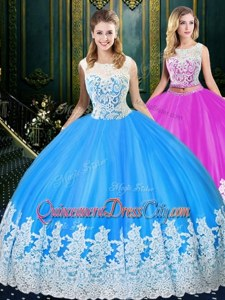 Custom Made Light Blue Tulle Lace Up 15 Quinceanera Dress Sleeveless Floor Length Lace and Appliques
