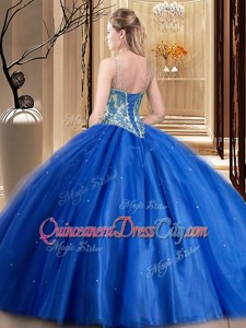 Popular Tulle Spaghetti Straps Sleeveless Lace Up Beading and Appliques 15 Quinceanera Dress inBlue