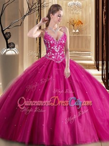 Customized Hot Pink Tulle Lace Up Quinceanera Gowns Sleeveless Floor Length Beading and Appliques