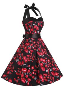 Halter Top Red And Black Sleeveless Sashes ribbons and Pattern Knee Length Mother of the Bride Dress