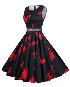 Scoop Red And Black Zipper Mother of Groom Dress Sashes ribbons and Pattern Sleeveless Knee Length