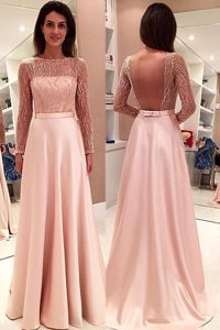 With Train Pink Mother Dresses Bateau Long Sleeves Sweep Train Backless