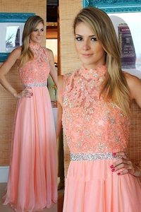 Romantic Pink Mother Dresses Prom and Party and For with Beading and Lace High-neck Sleeveless Zipper
