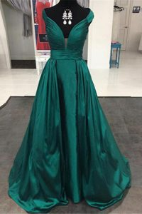 High End Off the Shoulder Pleated Mother of Bride Dresses Teal Zipper Sleeveless Sweep Train