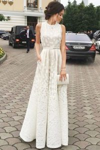 Pleated A-line Mother of the Bride Dress White Scoop Lace Sleeveless Floor Length Zipper